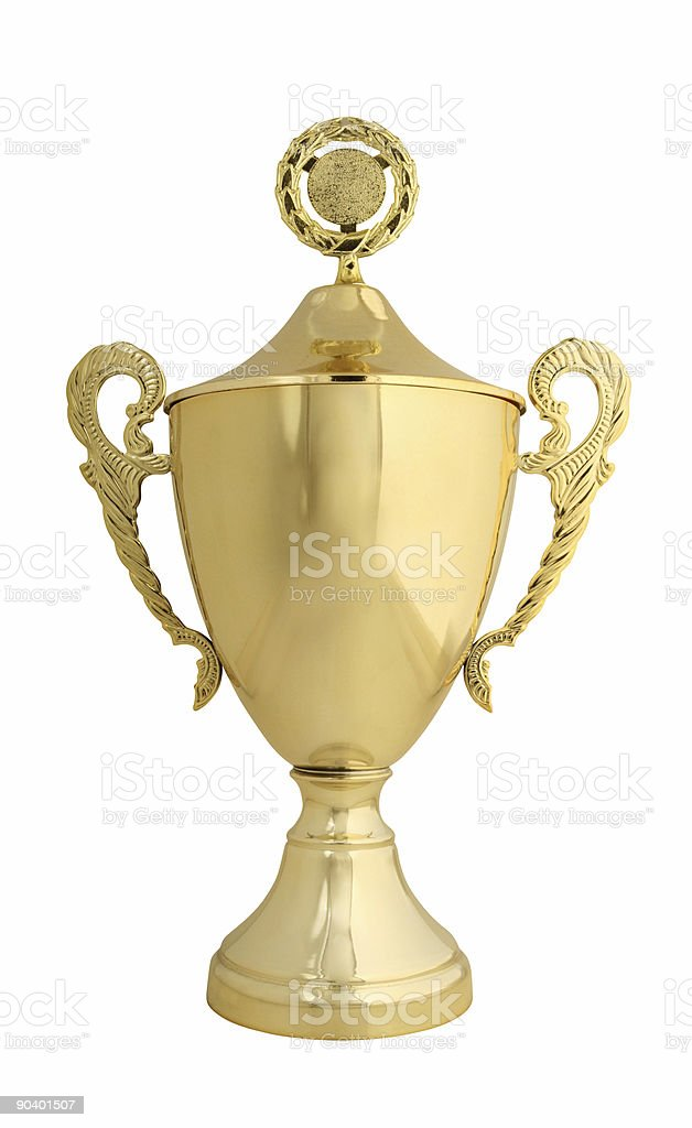 Golden trophy with lid isolated on white stock photo