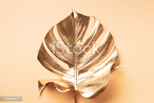 istock Golden tropical monstera leaf on nude background with copy space. Top view. Flat lay. Creative layout. Exotic summer concept in minimal style 1155444171