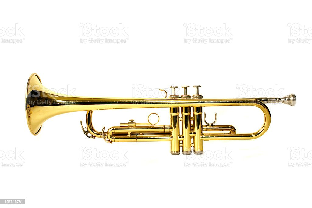Golden trumpet from a side view stock photo