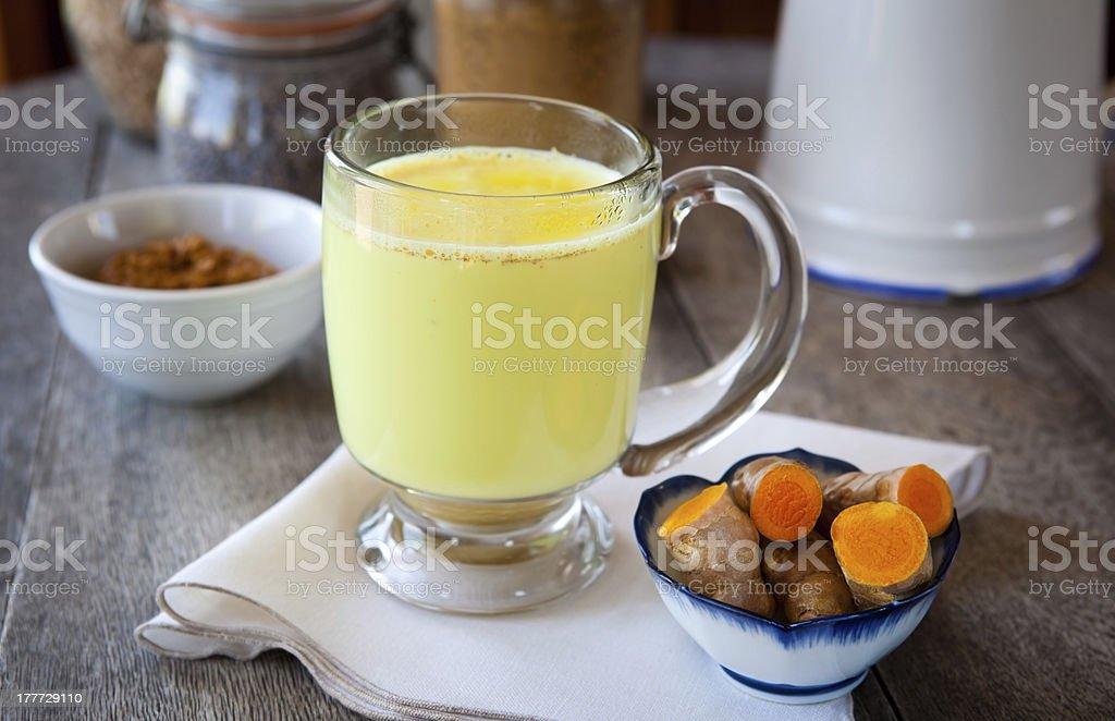 Golden turmeric milk stock photo