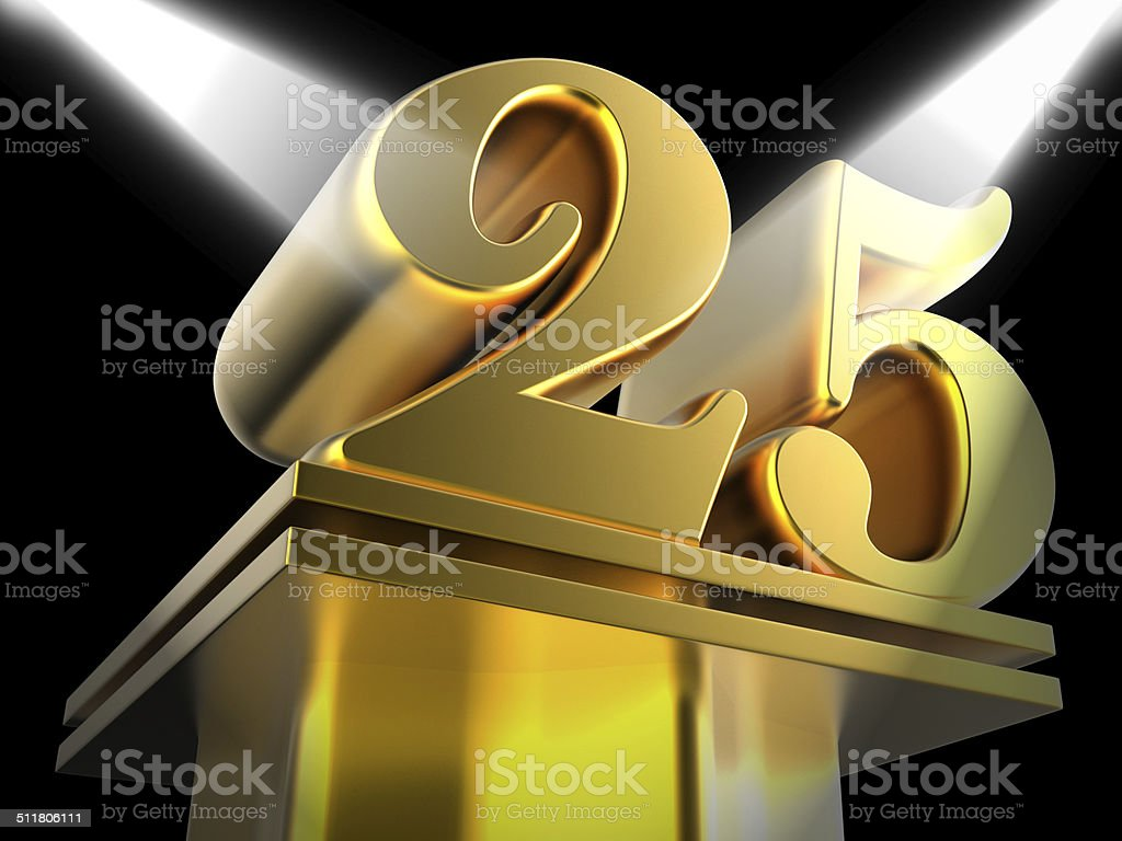 Golden Twenty Five On Pedestal Shows Twenty Fifth Movie Annivers stock photo