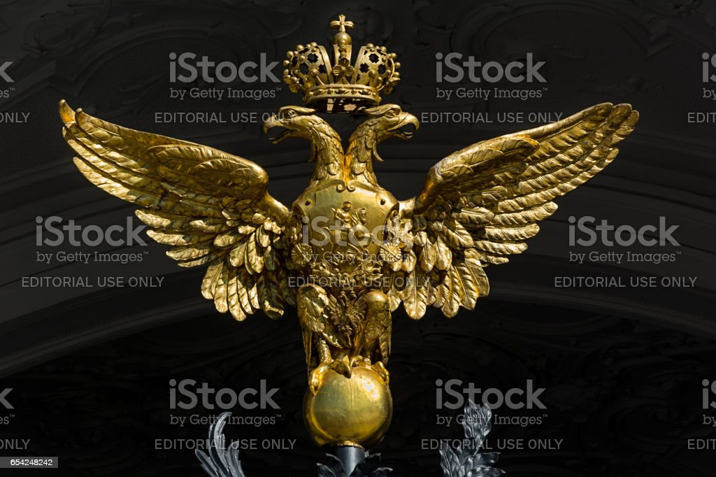 Golden two-headed eagle on the gates of the State Hermitage Museum, St. Petersburg, Russia stock photo
