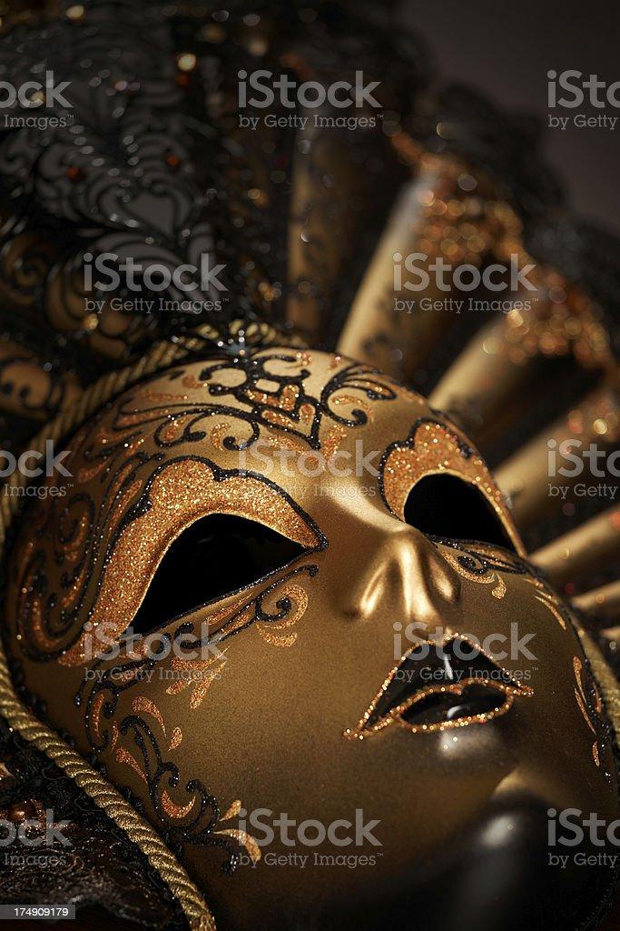 golden venetian mask close-up royalty-free stock photo