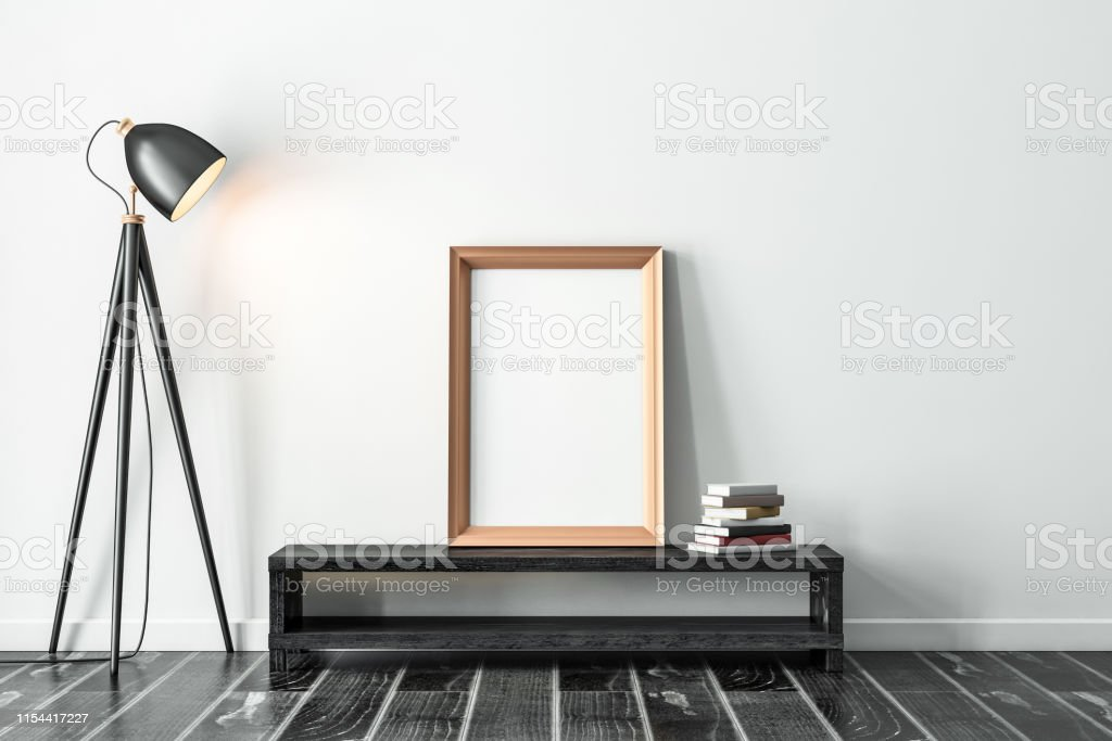 Golden Vertical Frame Mockup Standing On The Console With Modern Floor Lamp Stock Photo Download Image Now Istock