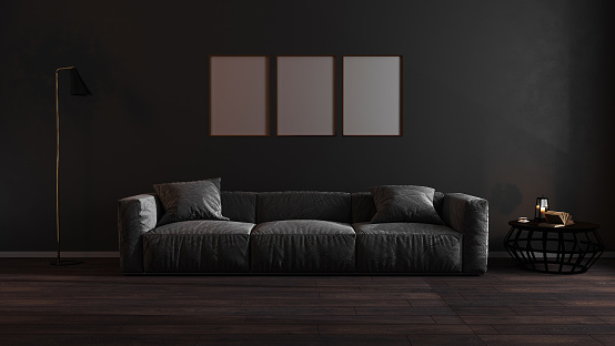 Golden Vertical Frames Mock Up In Dark Luxury Living Room Interior  Background Golden Poster Frame Mockup 3d Rendering Stock Photo - Download  Image Now - iStock