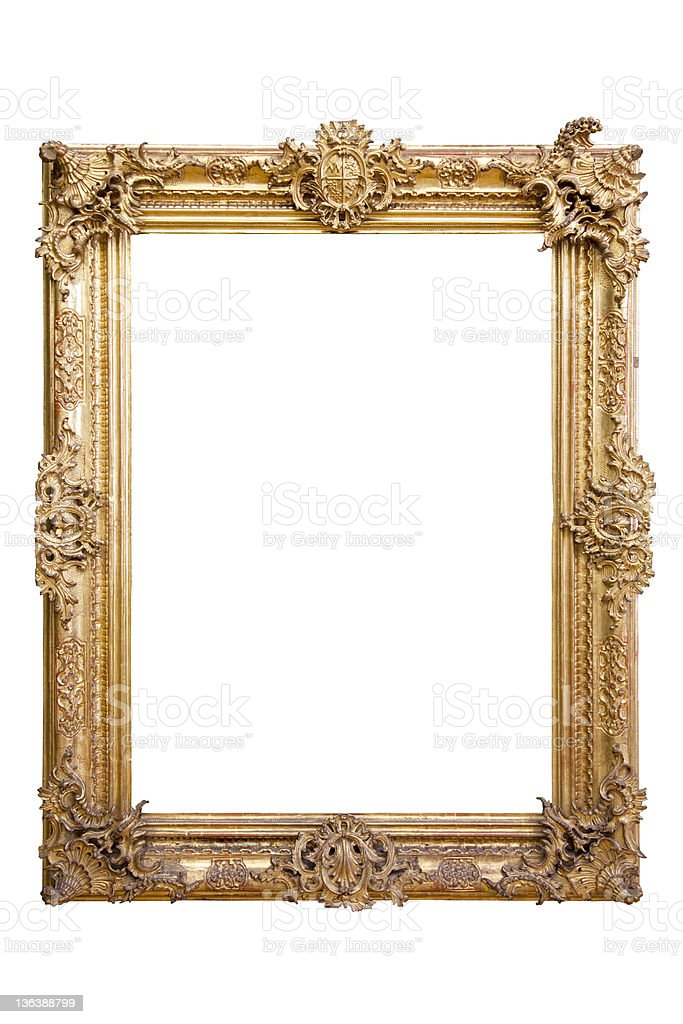 golden vintage baroque frame 18th century - isolated on white royalty-free stock photo
