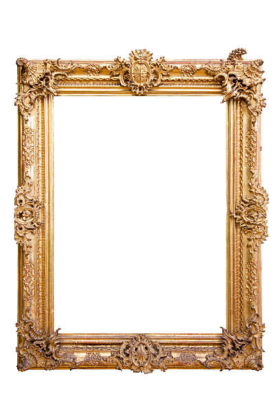 golden vintage baroque frame 18th century - isolated on white stock photo
