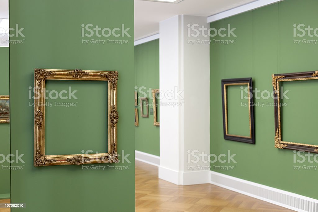 golden vintage baroque frame 18th century - place your picture stock photo