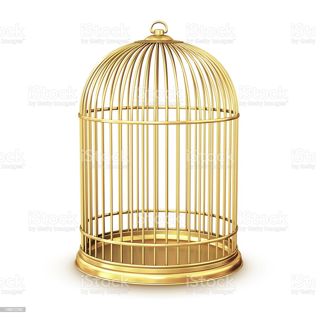 A golden vintage birdcage on a white background stock photo