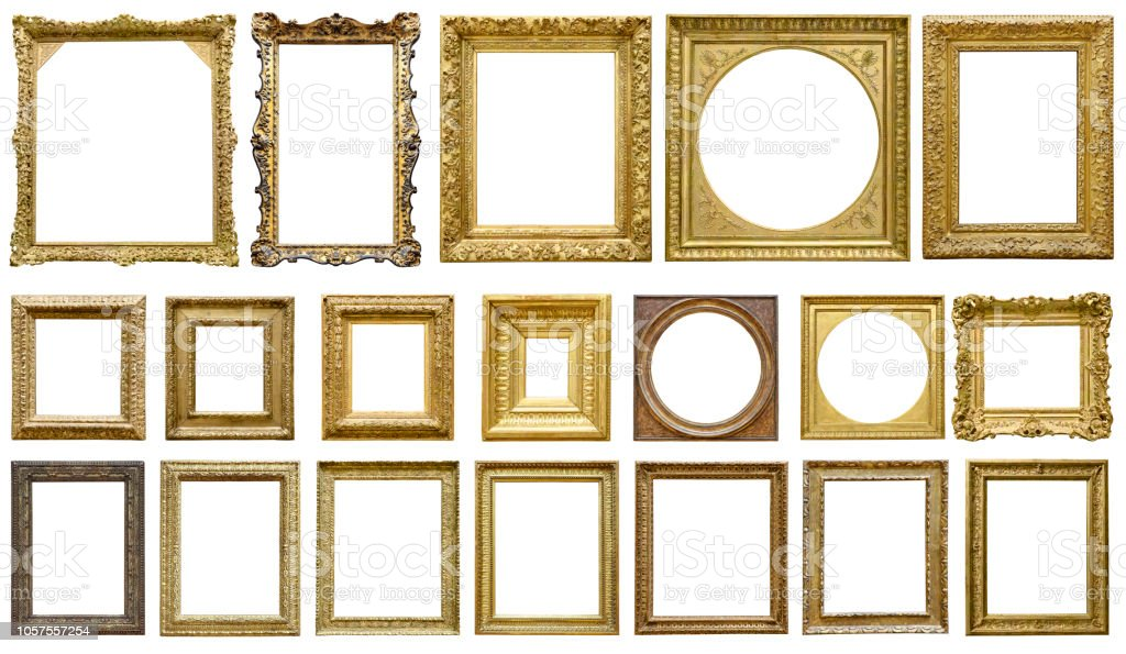 Oro marco vintage aislada sobre fondo blanco (todos los trazados de recorte incluidos) foto de stock libre de derechos