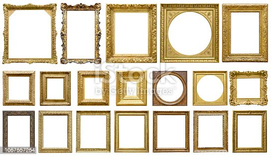 Golden vintage frame isolated on white background (Clipping Path)