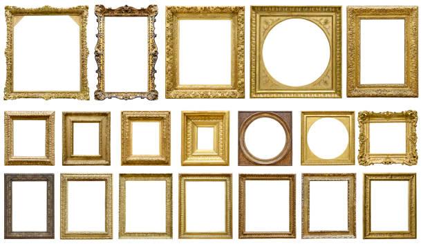 在白色背景查出的黃金復古框架 (包括所有裁剪路徑) - 有邊框的 個照片及圖片檔