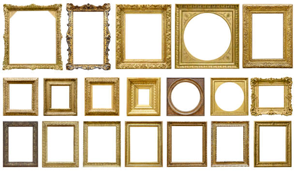 golden vintage frame isolated on white background (all clipping paths included) - antique stock pictures, royalty-free photos & images