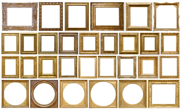 Golden vintage frame isolated on white background (All clipping paths included) stock photo