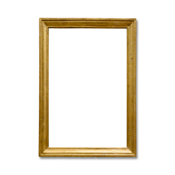 Golden vintage frame isolated on white background (Clipping Path) stock photo