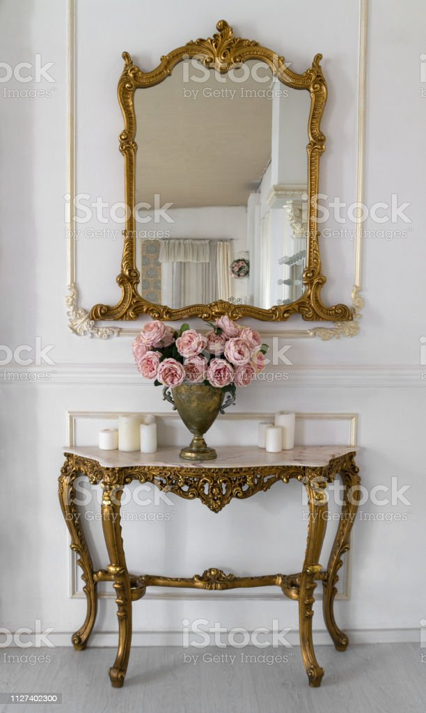 Golden Vintage Vanity Mirror And Golden Table Stock Photo Download Image Now Istock