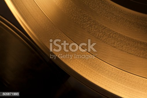 istock Golden Vinyl Record Close-Up 505871993