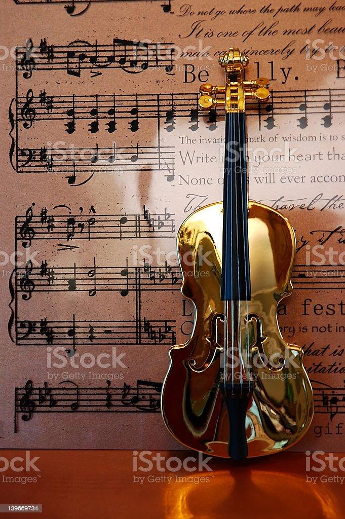 Golden Violin royalty-free stock photo
