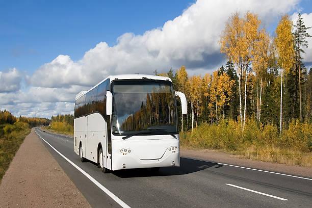 golden Reise mit weißen bus – Foto