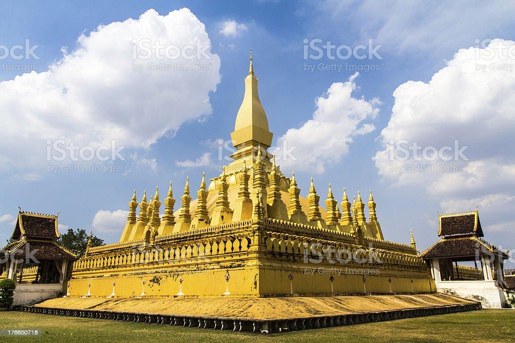 Golden Wat That Luang en vientián, Laos foto de stock libre de derechos