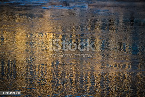 Golden Water surface background stock photo, golden wave, sunset still reflected, beautiful natural colors,