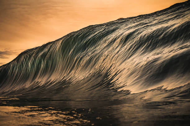 Golden wave forming stock photo
