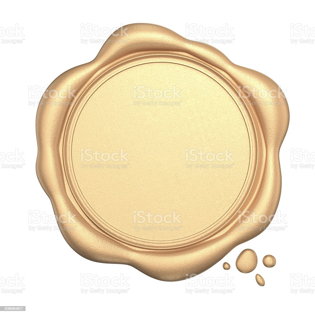 Golden wax seal with blank space isolated on white background stock photo
