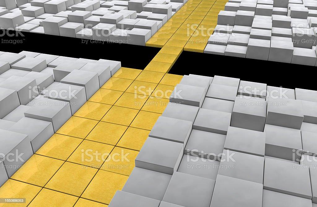 Golden Way to the Bridge, Metaphor Concept stock photo
