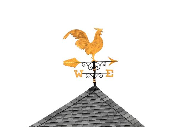Golden weather vane chicken on roof isolated on white background Golden weather vane chicken on roof isolated on white background weather vane stock pictures, royalty-free photos & images