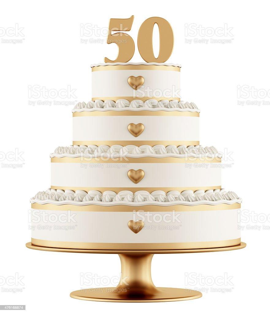 Golden wedding cake stock photo
