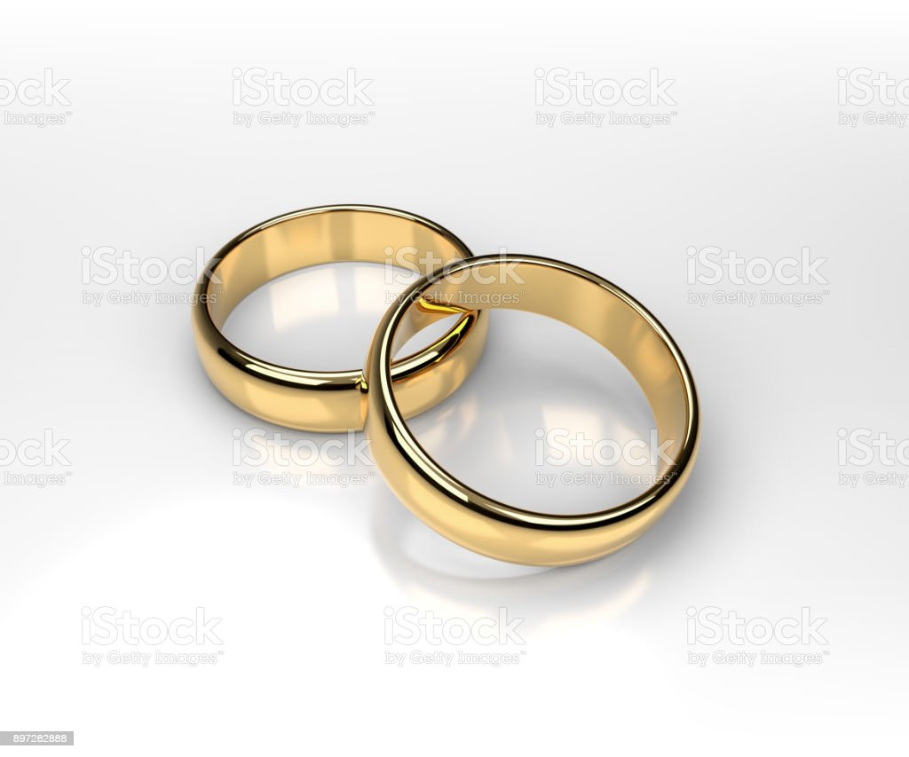 Golden Wedding Rings Concept 3d Rendering Stock Photo More