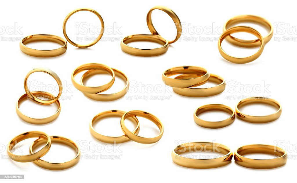 Golden wedding rings isolated on a white, collage stock photo