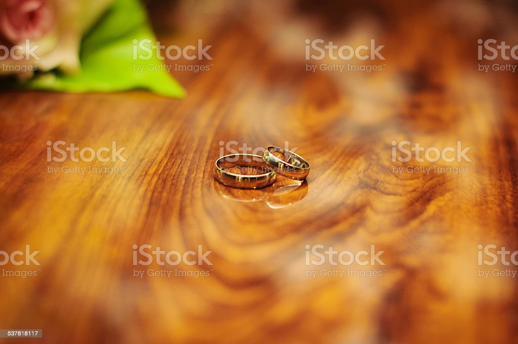 Golden Wedding Rings Layered On Each Other Stock Photo Download