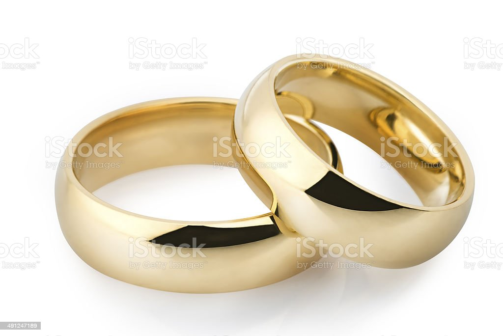 Golden wedding rings stock photo