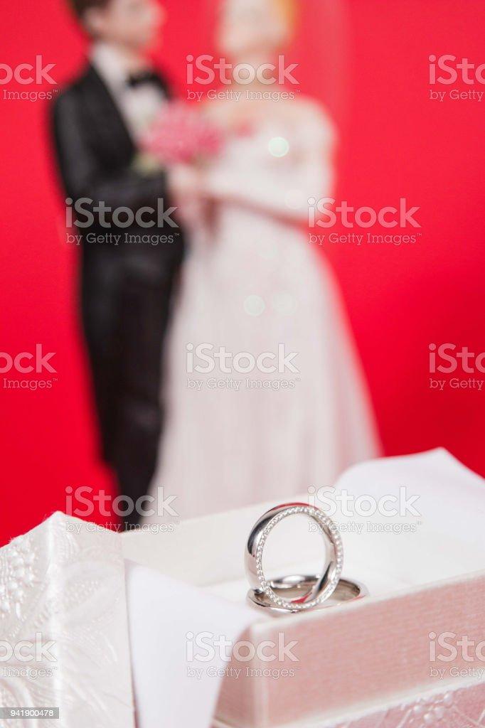 Goldene Hochzeit Ringe Mit Weißen Luxusbox Auf Seide