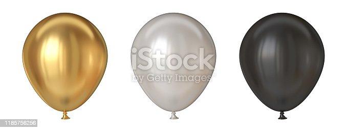 istock Golden, white and black balloons 3D 1185756256