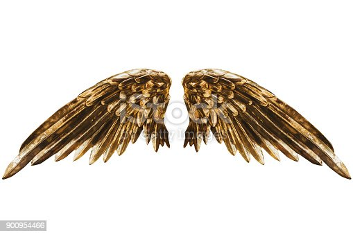 View of the beautiful Angel Golden wings statue for a garden on white background