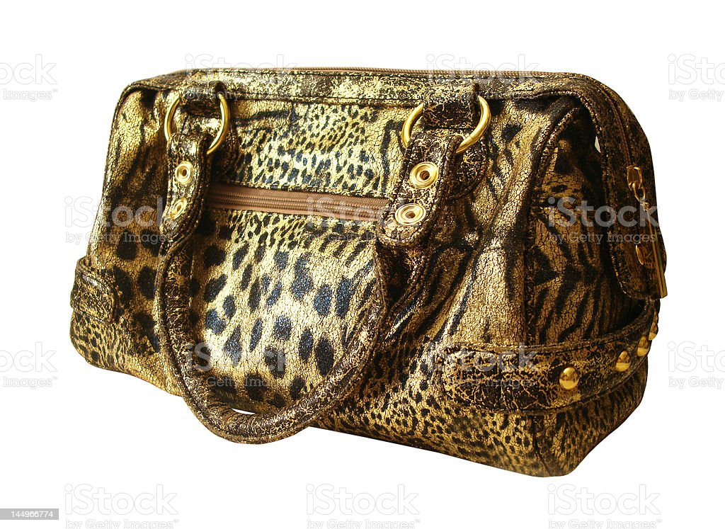 golden womanish handbag on white background royalty-free stock photo