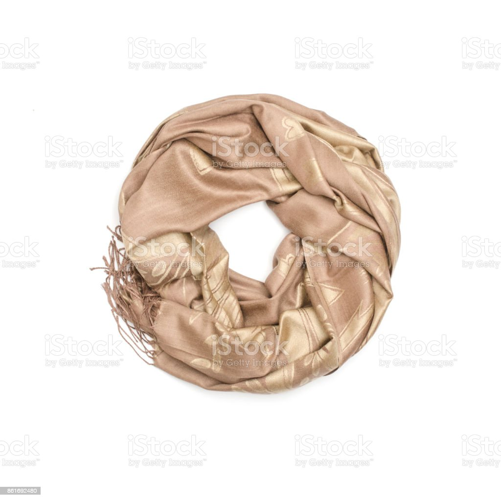 ce23d2dd7 golden women's scarf with pattern isolated on white royalty-free stock photo