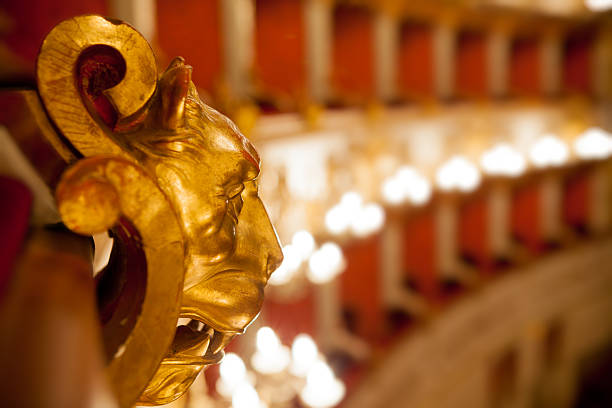 Golden wood lion in theater stock photo
