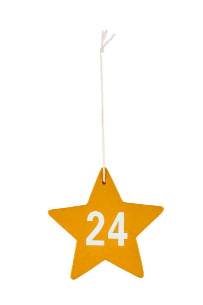 or en bois noël étoile blanche numéro 24 chaîne un tracé de détourage - nombre 24 photos et images de collection