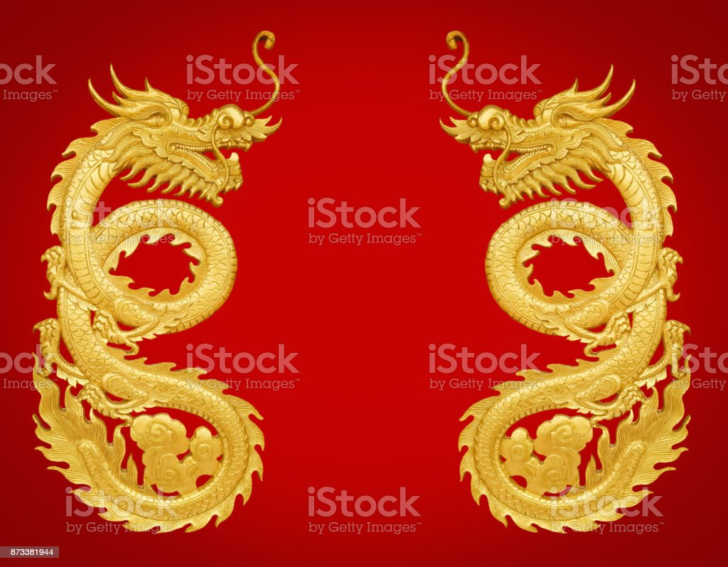 golden wooden craft dragon stock photo