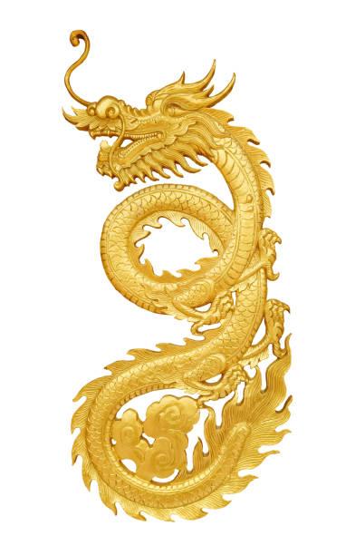 holz handwerk goldenen drachen - chinesische zeichen tattoos stock-fotos und bilder