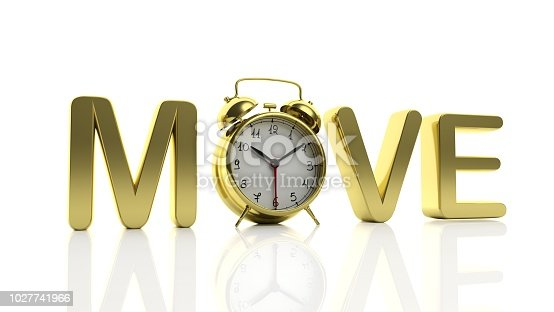 istock 3D golden word Move with alarm clock as letter