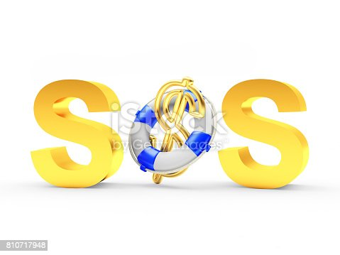 Golden Word Sos And Dollar Sign In Lifebuoy Stock Photo More