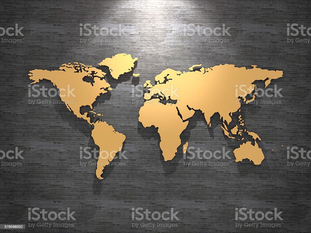 Golden world map on tile wall. 3D rendering. stock photo