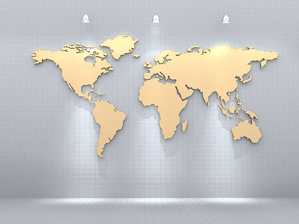 Royalty free gold world map pictures images and stock photos istock golden world map on tile wall 3d rendering stock photo gumiabroncs Images