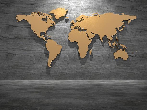 golden world map on tile wall. 3d rendering. - karten wandkunst stock-fotos und bilder
