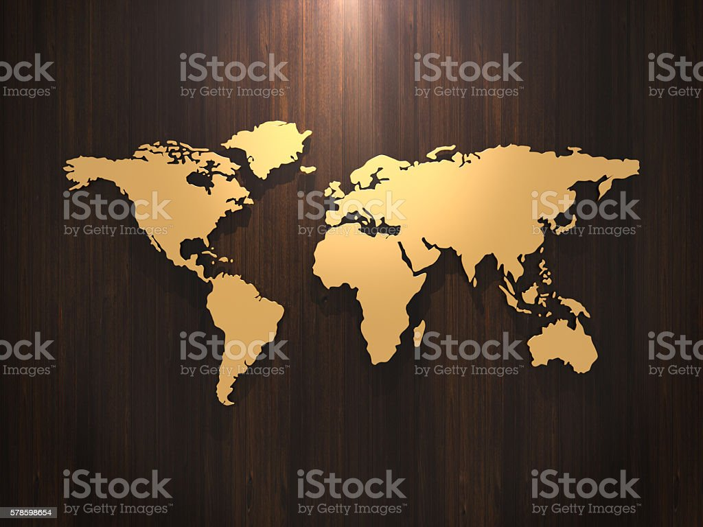 Golden world map on wood wall. 3D rendering stock photo