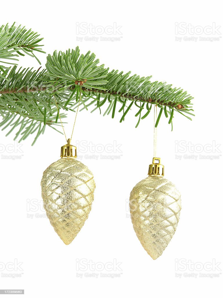 Golden X-mas Ornaments royalty-free stock photo